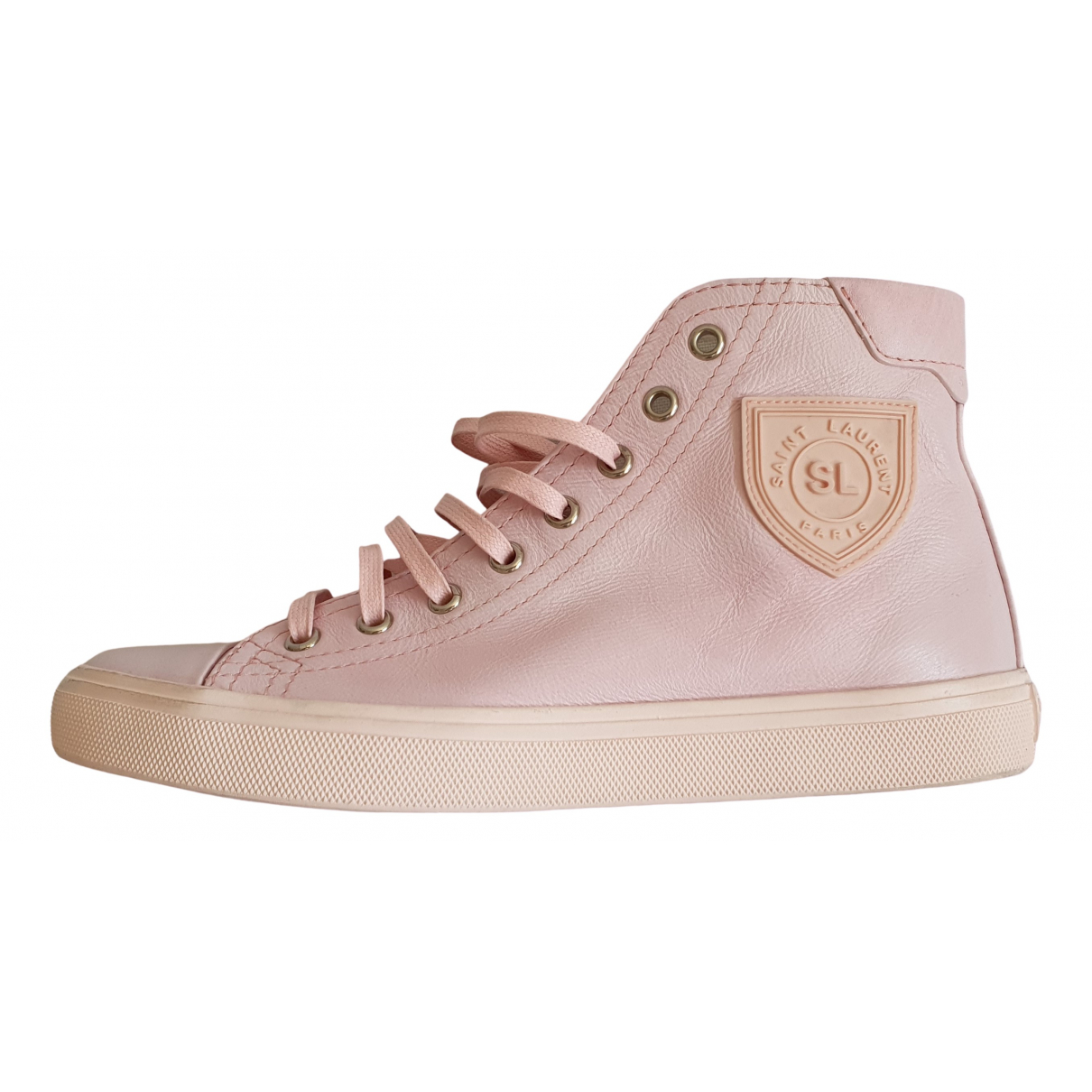 Saint Laurent \N Pink Leather Trainers for Women 37 EU
