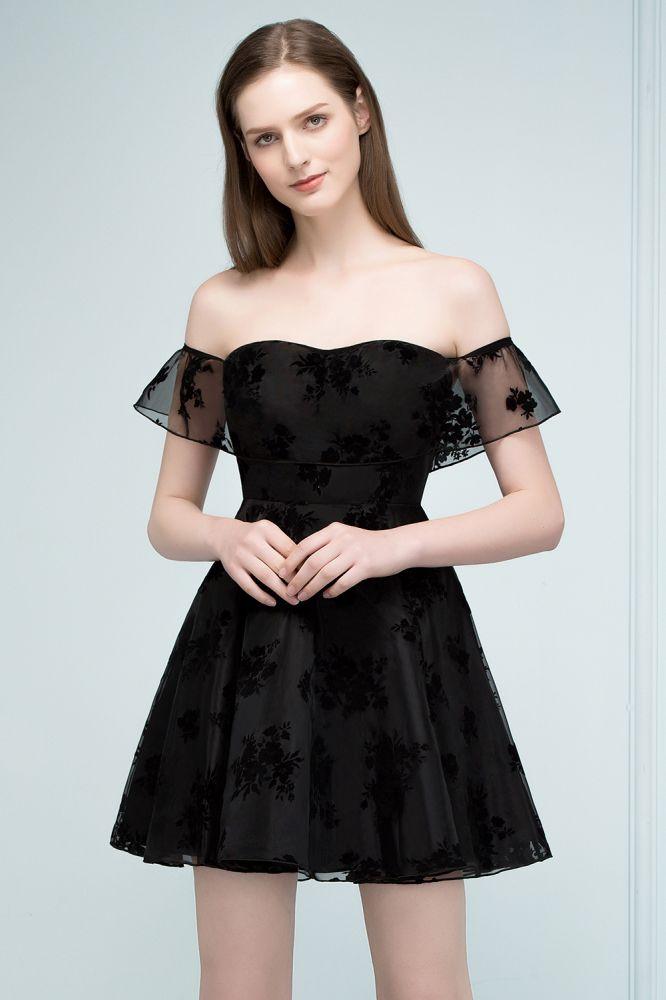 Schlichte Schwarz Abendkleider Schulterfrei   Elegantes Spitze Abikleider Kurz