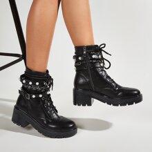 Faux Pearl & Chain Decor Combat Boots