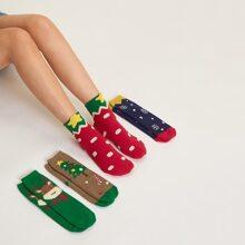 4 pares calcetines con estampado de dibujos animados de Navidad
