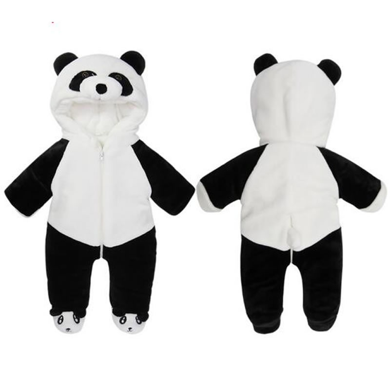Panda Shape Flannel White Baby Sleeping Bag/Jumpsuit
