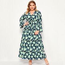 Kleid mit Reverskragen, Blumen Muster und Guertel