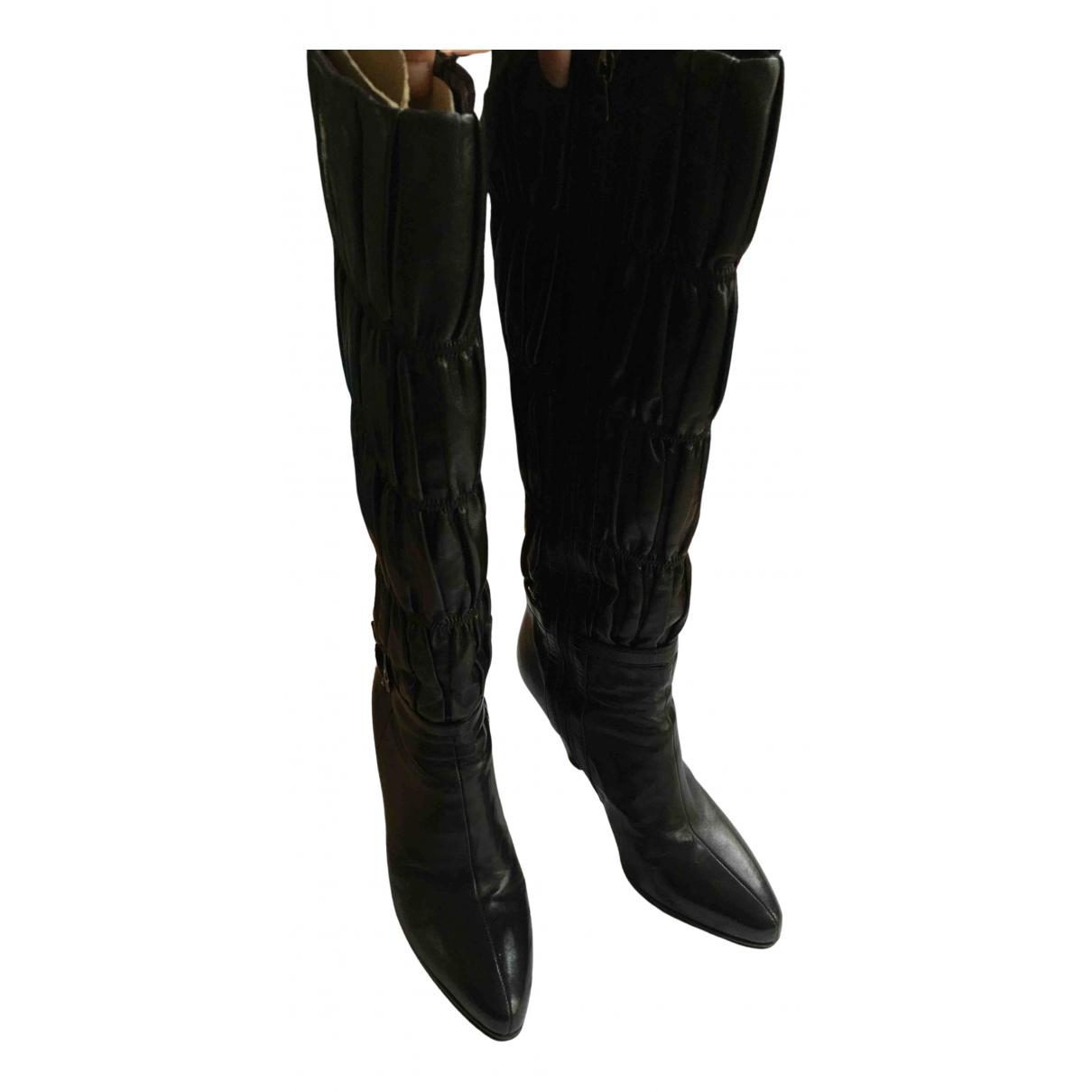 Prada N Black Leather Boots for Women 36 EU