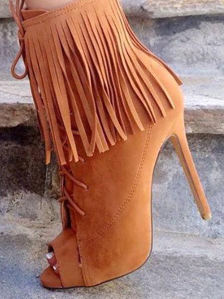 Milanoo Botines de punter Peep Toe Cuero con apariencia suave Color liso con borlaspara aumentar la altura estilo street wear estilo moderno