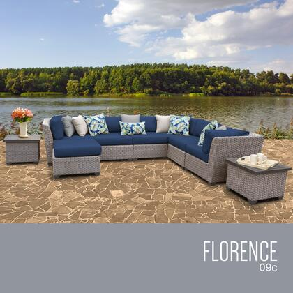 FLORENCE-09c-NAVY Florence 9 Piece Outdoor Wicker Patio Furniture Set 09c with 2 Covers: Grey and
