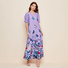 Kleid mit Puffaermeln, eingekerbtem Kragen und Schmetterling Muster