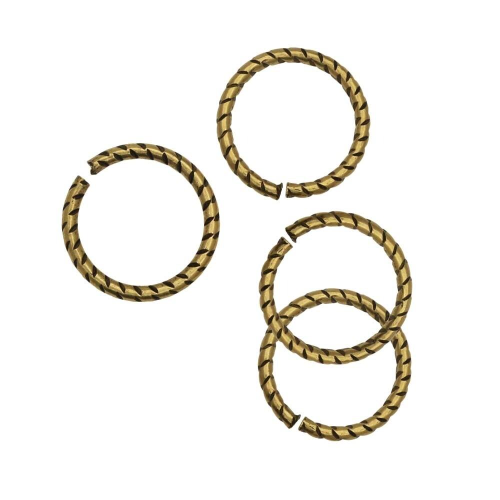 Nunn Design Jump Ring, Textured Open 16 Gauge, 12mm, 4 Pieces, Antiqued Gold
