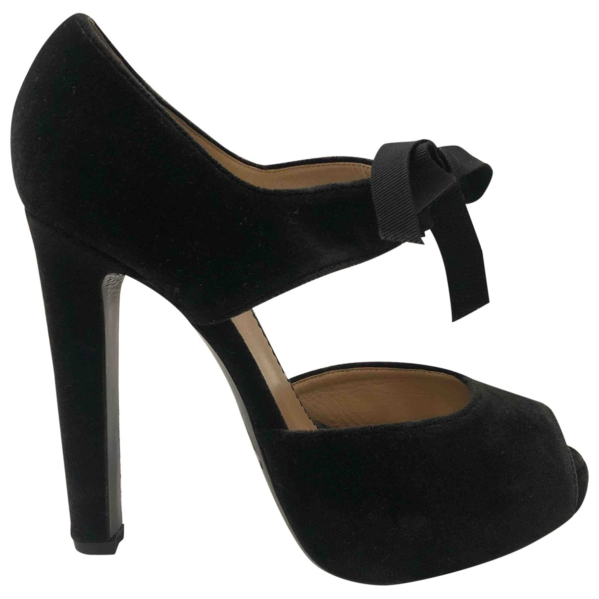 Emporio Armani \N Black Velvet Heels for Women 38 EU
