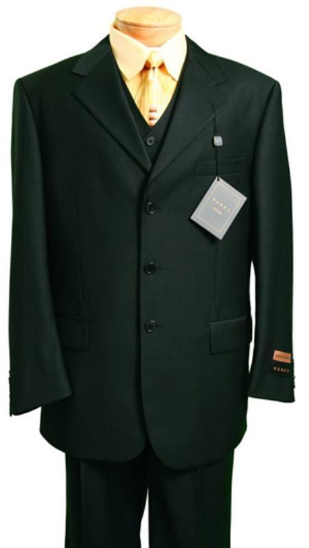 Mens 3 Piece Suit Black 3 Button Jacket Wool with Vest Cheap