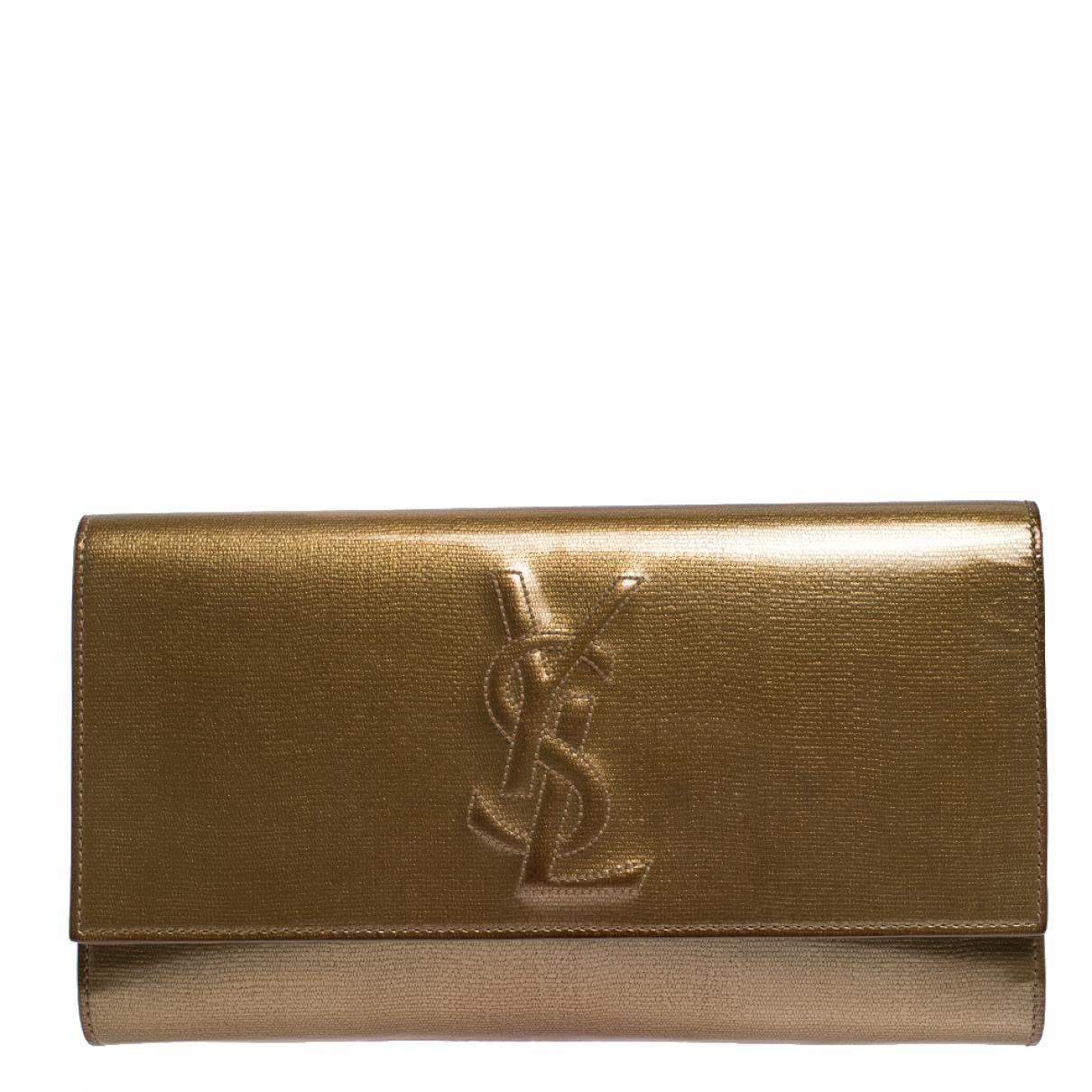 Saint Laurent - Pochette   pour femme en cuir verni - dore