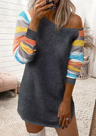 Colorful Striped Splicing Sleeve Mini Dress - Dark Grey