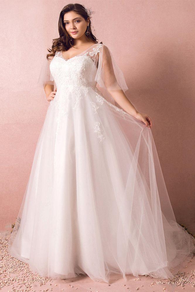 Elegante vestido de novia de encaje de talla grande Una linea Hasta el suelo Cuello en V Apliques de tul Mangas de poeta con cordones