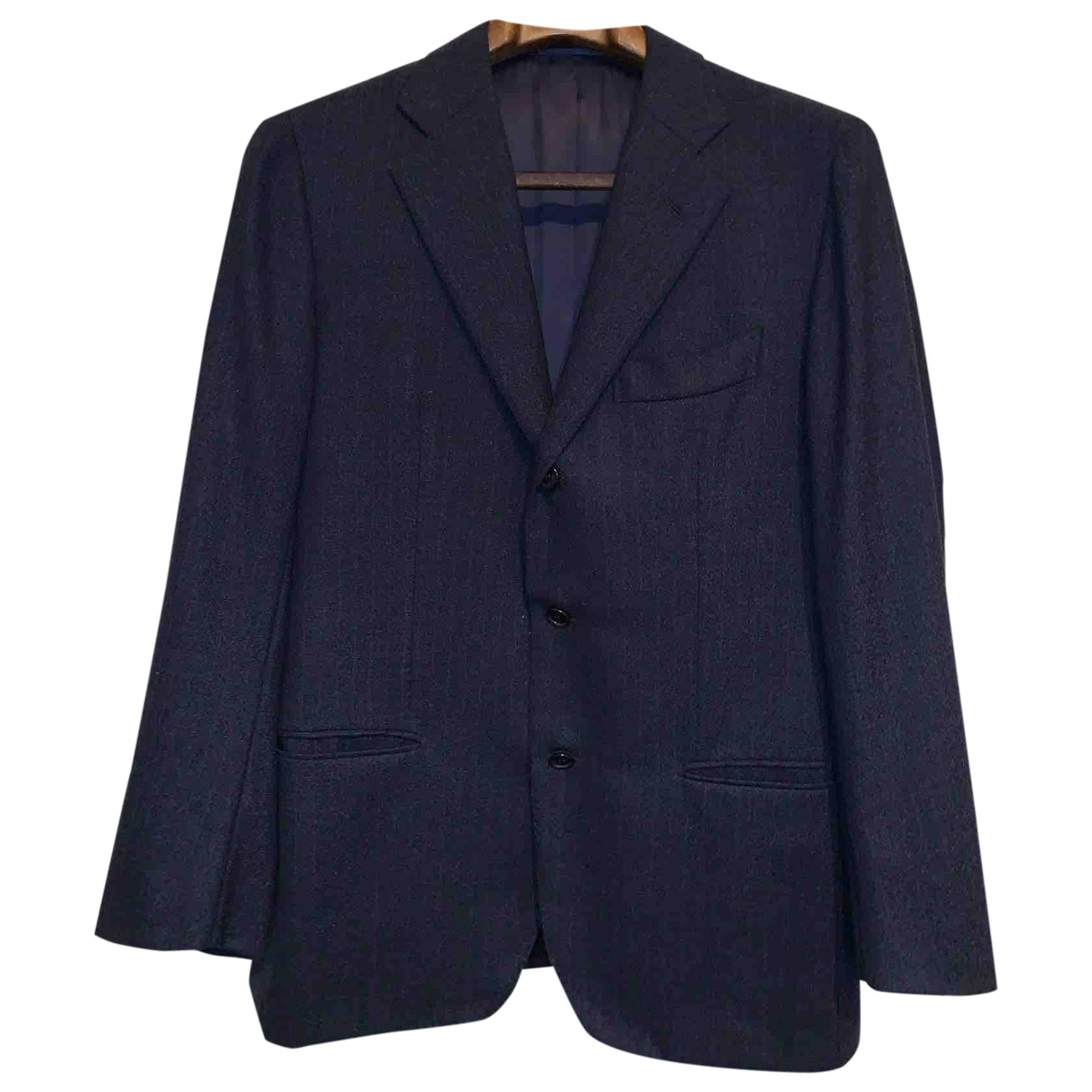 Non Signé / Unsigned \N Blue Wool Suits for Men 48 IT