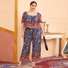 Plus Floral Print Blouse With Pants