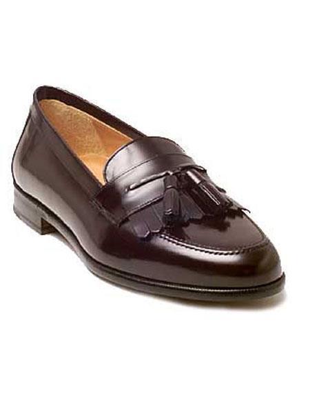 Mens Burgundy Slip-on Italian Tassle Loafers Leather Shoes Brand