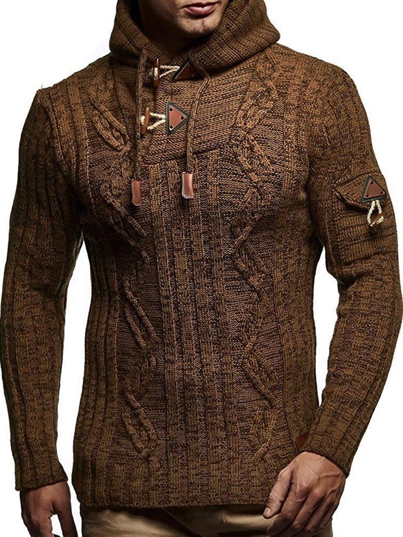 Ericdress Mid-Length Plain Hooded Slim Fashion Men's Sweater