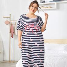Plus Flamingo And Striped Print Night Dress