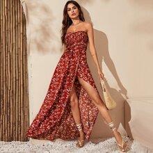 Shirred Cross Wrap Bodice Floral Dress
