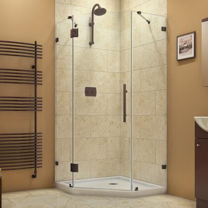 SHEN-2236360-06 Prism Lux 36 5/16 In. D X 36 5/16 In. W X 72 In. H Fully Frameless Hinged Shower Enclosure In Oil Rubbed