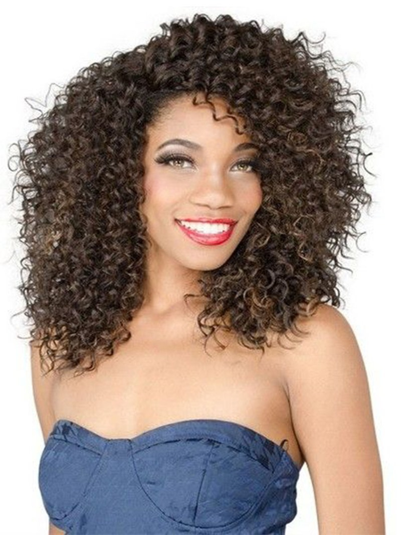 Ericdress Fashion Women's Sexy Afro Curly Hairstyles Side Part Curly Synthetic Hair Capless Wigs 16Inch