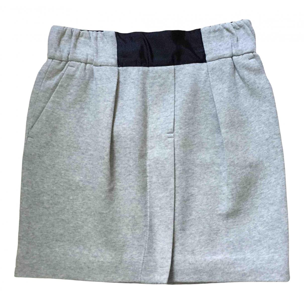 Zara - Jupe   pour femme en coton - gris