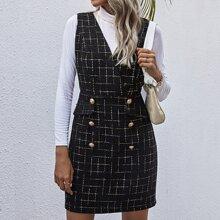 Vestido con botones de cuadros tweed