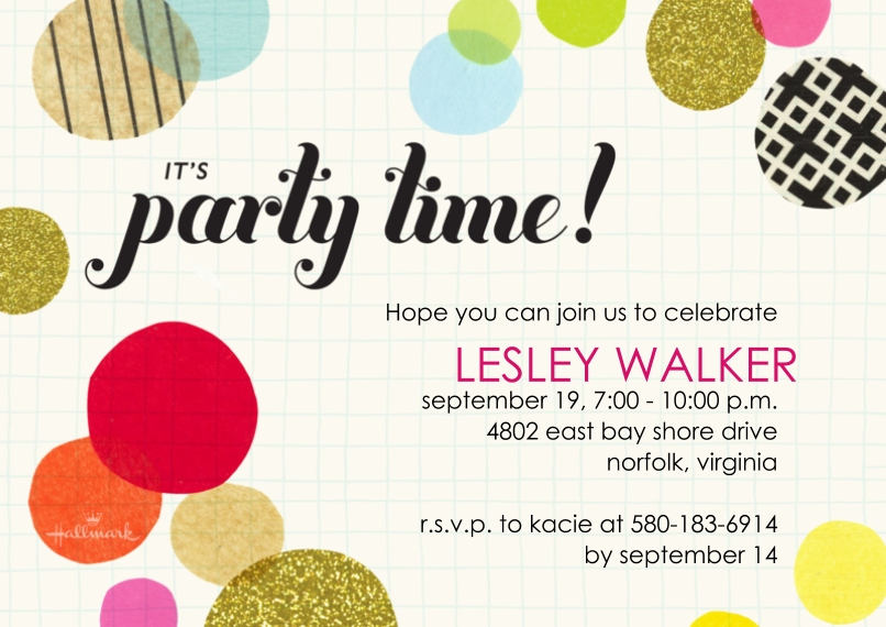 Party Invitations 5x7 Cards, Premium Cardstock 120lb with Scalloped Corners, Card & Stationery -Party Time Dots