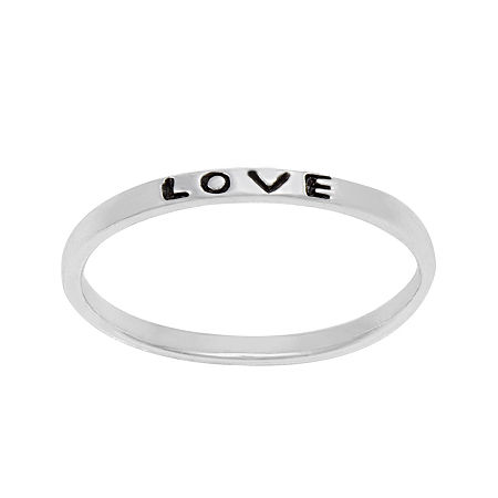 itsy bitsy Sterling Silver Love Band Ring, 6 , No Color Family