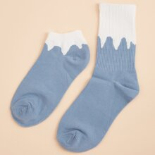 2pairs Contrast Trim Socks