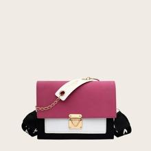 Color Block Push Lock Flap Crossbody Bag