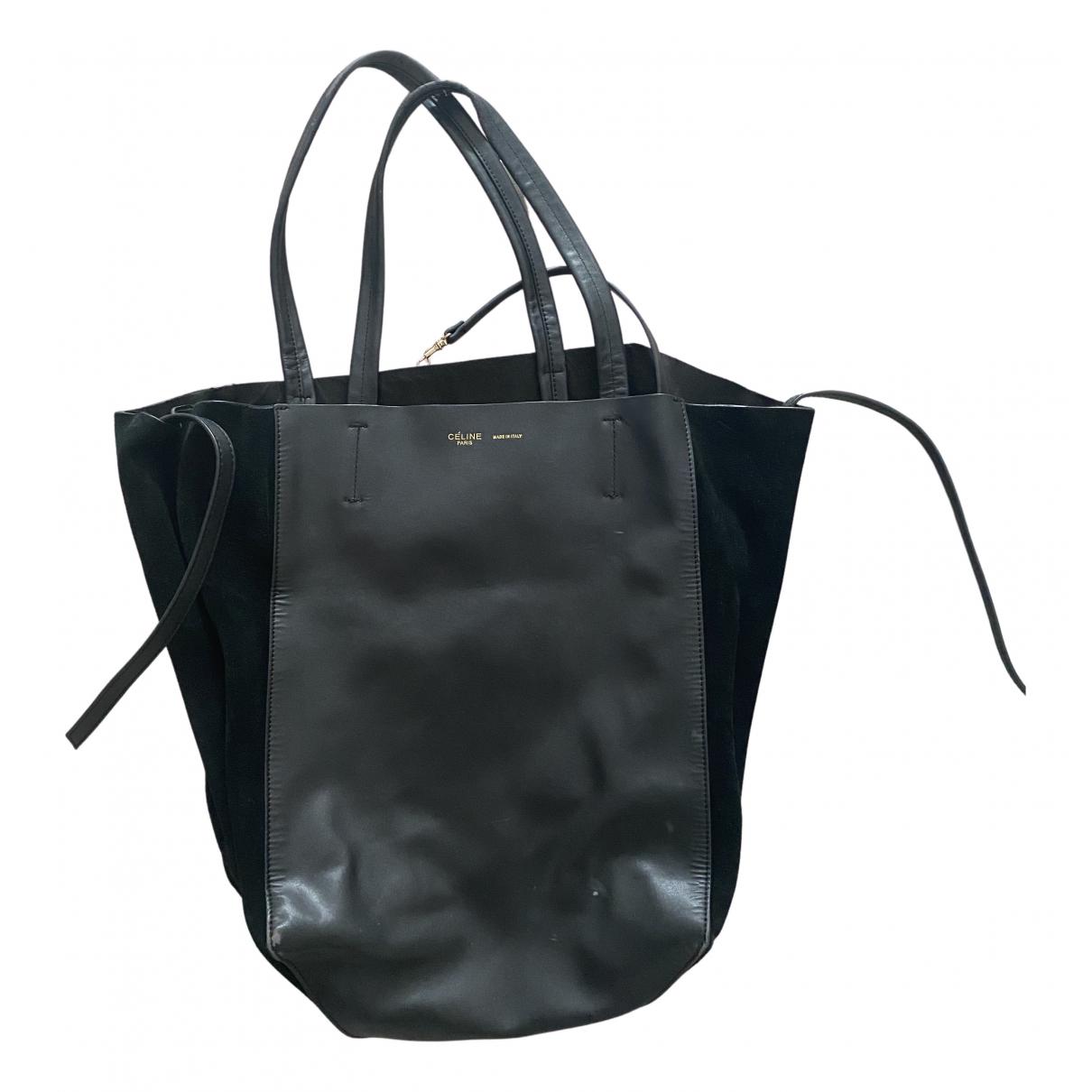 Celine Cabas Phantom Handtasche in  Schwarz Leder
