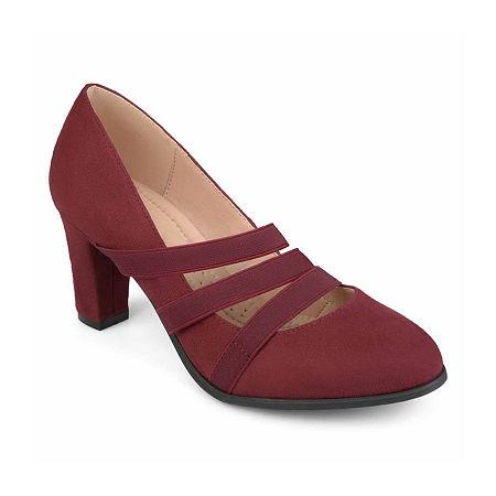 Journee Collection Womens Loren Pumps Stacked Heel, 8 Medium, Red