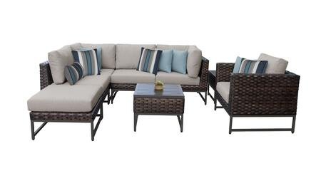 Barcelona BARCELONA-08m-BRN 8-Piece Patio Set 08m with 2 Corner Chairs  1 Club Chair  2 Armless Chairs  1 Ottoman and 2 End Tables - 1 Beige Cover