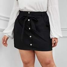 Falda de cintura con volante con cinturon con boton delantero