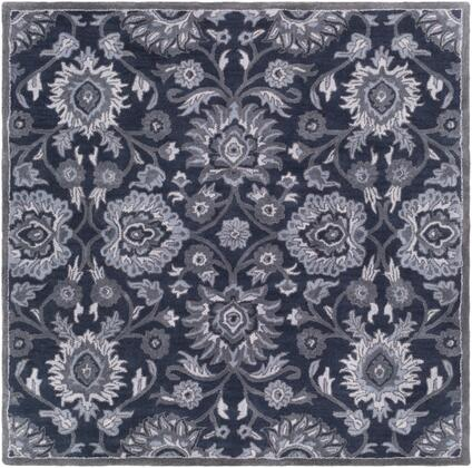 Caesar CAE-1191 4' Square Traditional Rug in Navy  Charcoal  Medium Grey