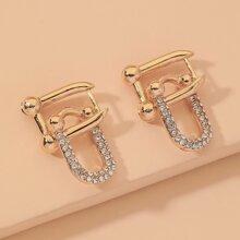 Pendientes estructurados con diamante de imitacion