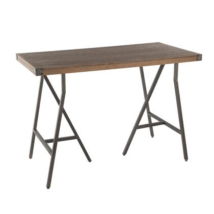Trestle Collection T36-TRSTAN+BN Counter Height Table with Distressed Wood Top  Industrial Style and Antique Metal Angular Frame in Antique Metal and