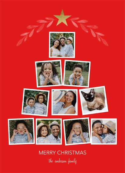 Christmas Photo Cards 7x10 Seal & Send Cards, Card & Stationery -Golden Star