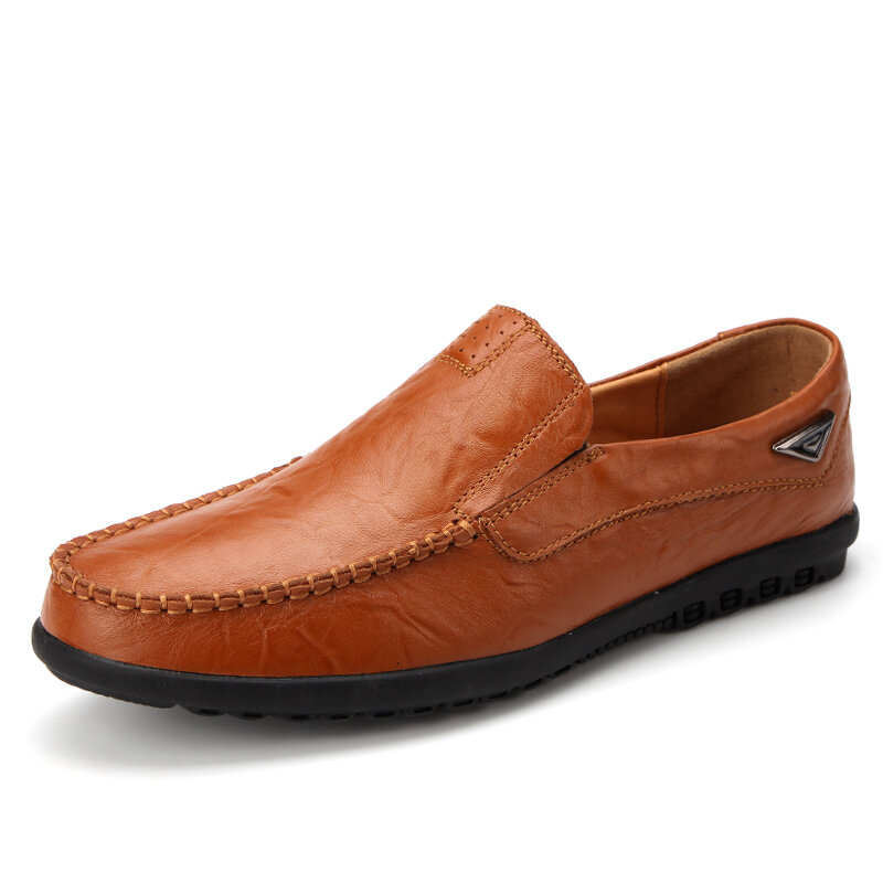 Men Microfiber Leather Non Slip Soft Sole Slip On Casaul Driving Shoes