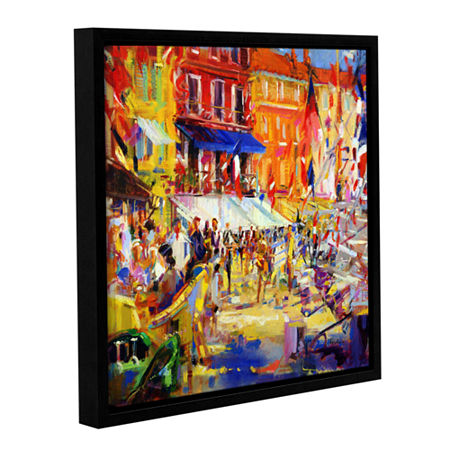 Brushstone Port Promenade Saint-Tropez Gallery Wrapped Floater-Framed Canvas Wall Art, One Size , Red