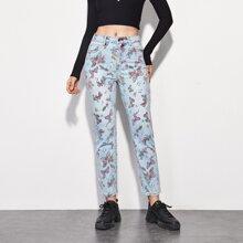 Jeans mit Schmetterling Muster und geradem Beinschnitt