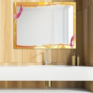 Designart 'Gold and Pink Frame 3' Glam Mirror - Modern Vanity Mirror (39.4 in. wide x 29.5 in. high)