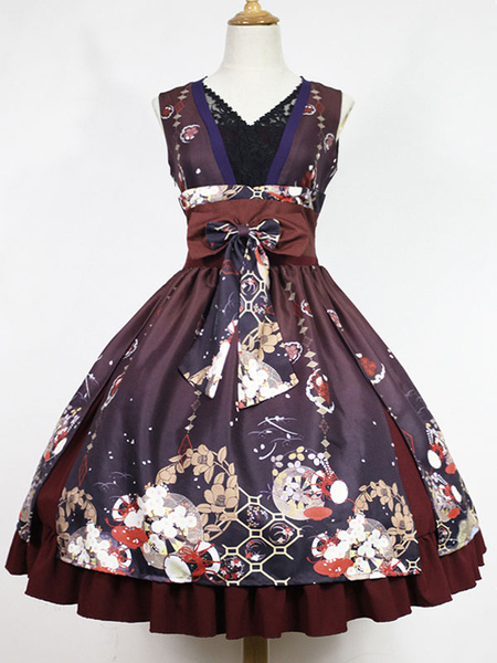 Milanoo Kimono Lolita Dress Hone Onna In Haunted Night JSK Neverland Print Bow Ruffles Dark Navy Lolita Jumper Skirt Original Design