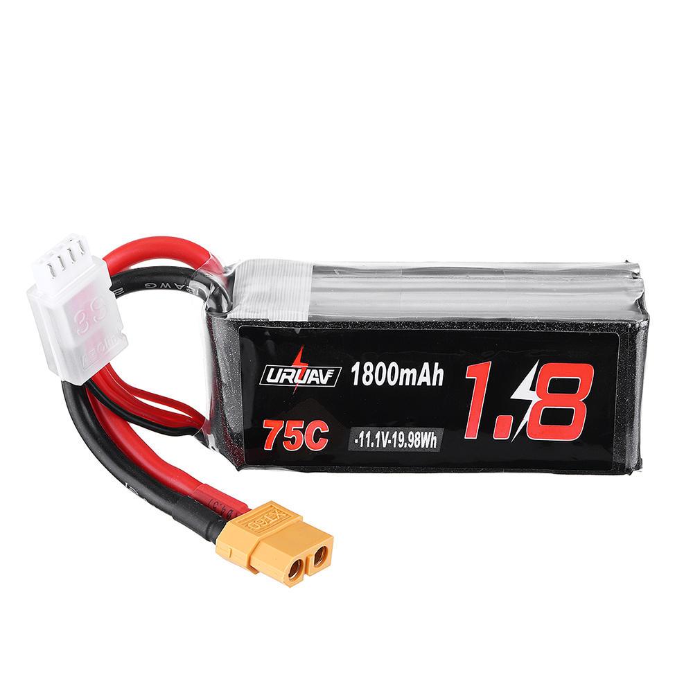 URUAV 11.1V 1800mAh 75C 3S Lipo Battery XT60 Plug for FPV RC Drone