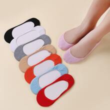 8pairs Solid Invisible Socks
