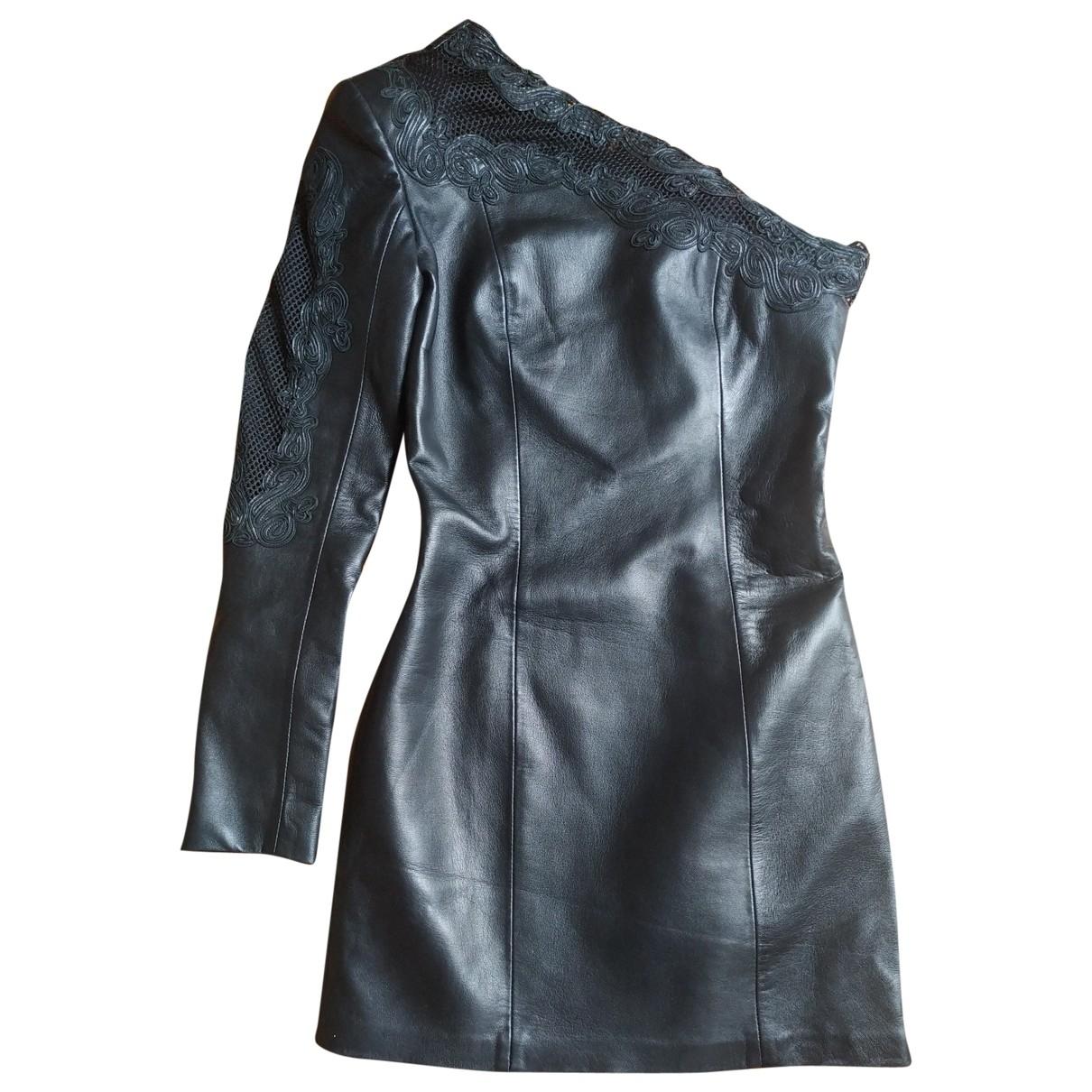 Balmain - Robe   pour femme en cuir - noir