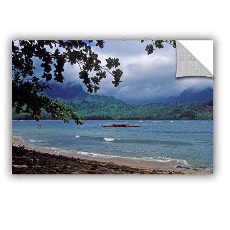 Brushstone Red Canoe On Hanalei Bay Removable WallDecal, One Size , Blue