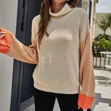 Turtle Neck Drop Shoulder Colorblock Sweater
