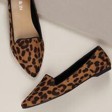 Pointed Toe Leopard Print Slip On Ballet Flats
