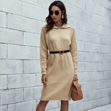 Buttoned Collar Raglan Sleeve Sweater Dress Without Belted